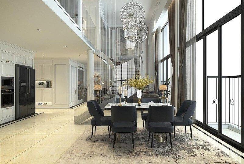 Thiết kế nội thất phòng khách căn hộ Pentstudio cao cấp