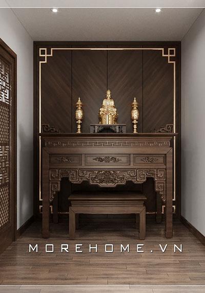 Mẫu thiết kế nội thất phòng thờ gỗ óc chó sang trọng, đẳng cấp