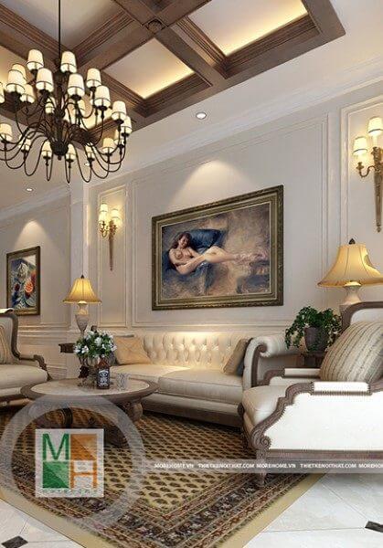 Thiết kế nội thất biệt thự gỗ viêt kết hợp tân cổ điển - Anh Thủy