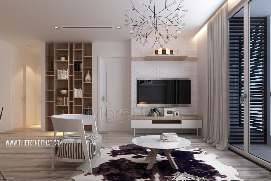 Thiết kế nội thất phòng khách chung cư Park Hill hiện đại