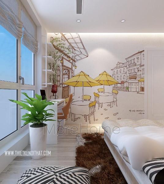 Thiết kế nội thất phòng ngủ con chung cư Park Hill hiện đại