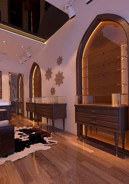 Thiết kế nội thất showroom room đá phong thủy An Thiên