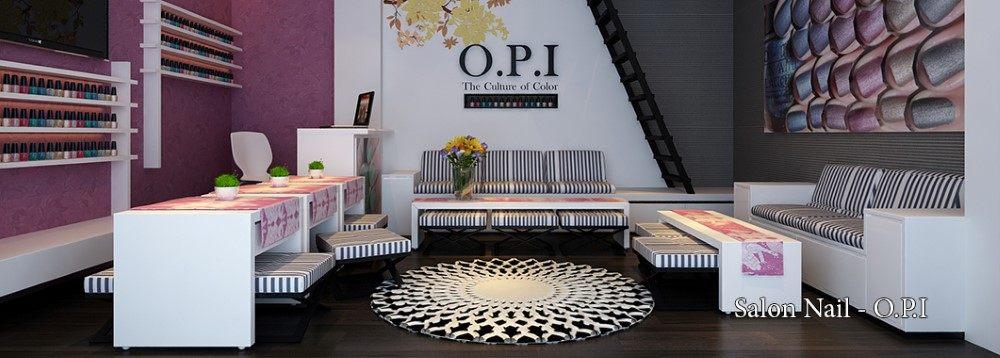 Thiết kế nội thất salon làm móng OPI hiện đại