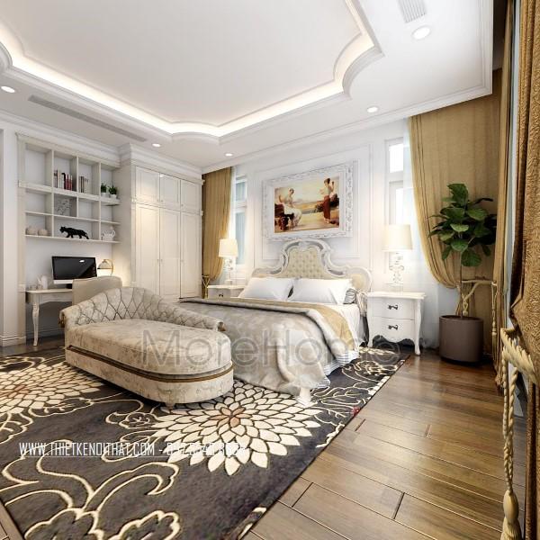 Thiết kế nội thất phòng ngủ biệt thự tân cổ điển CIPUTRA