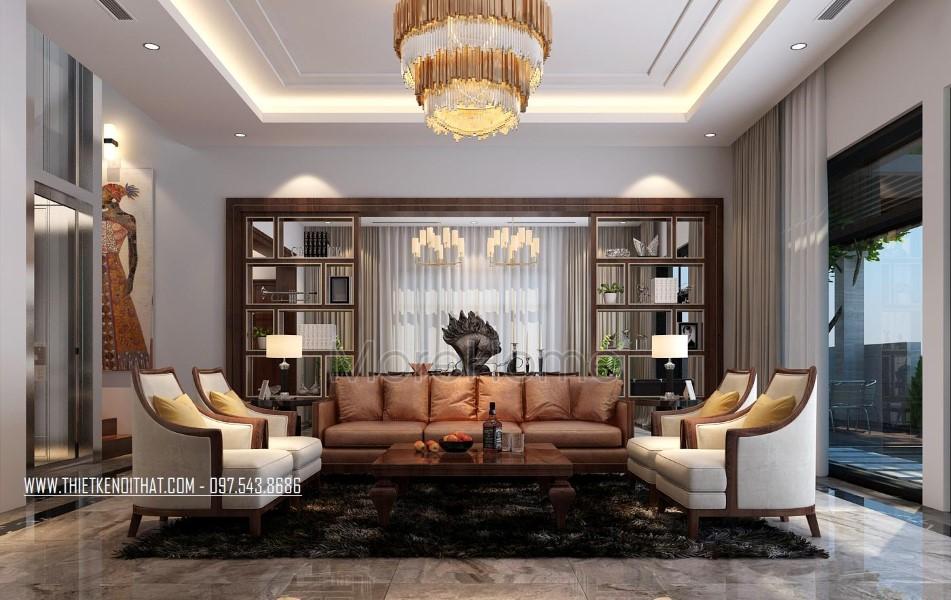 Thiết kế nội thất phòng khách biệt thự Nam Định hiện đại