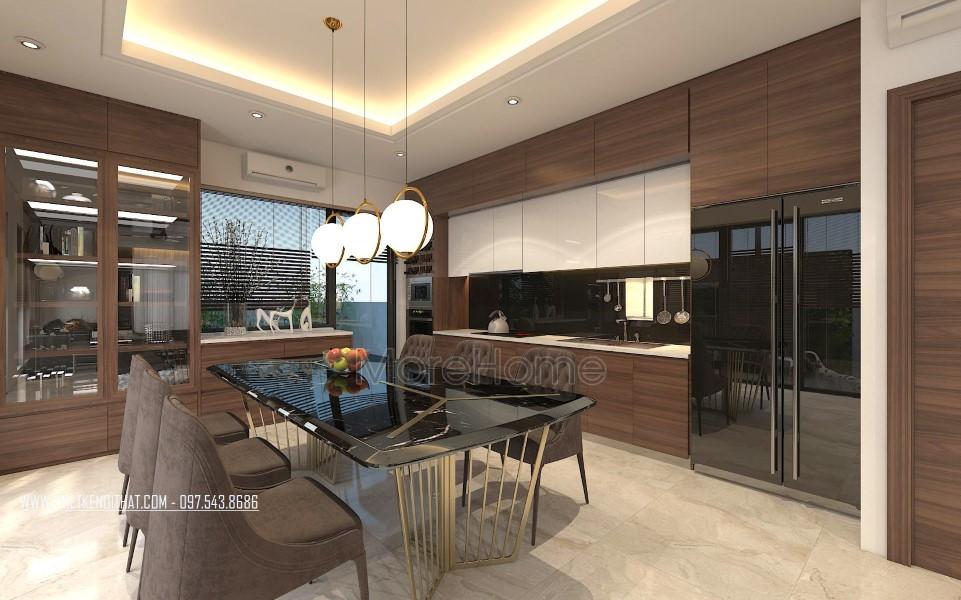 Thiết kế nội thất phòng bếp biệt thự Vinhomes Thăng Long Hoài Đức Hà Nội