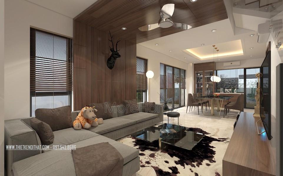 Thiết kế nội thất phòng khách biệt thự Vinhomes Thăng Long Hoài Đức