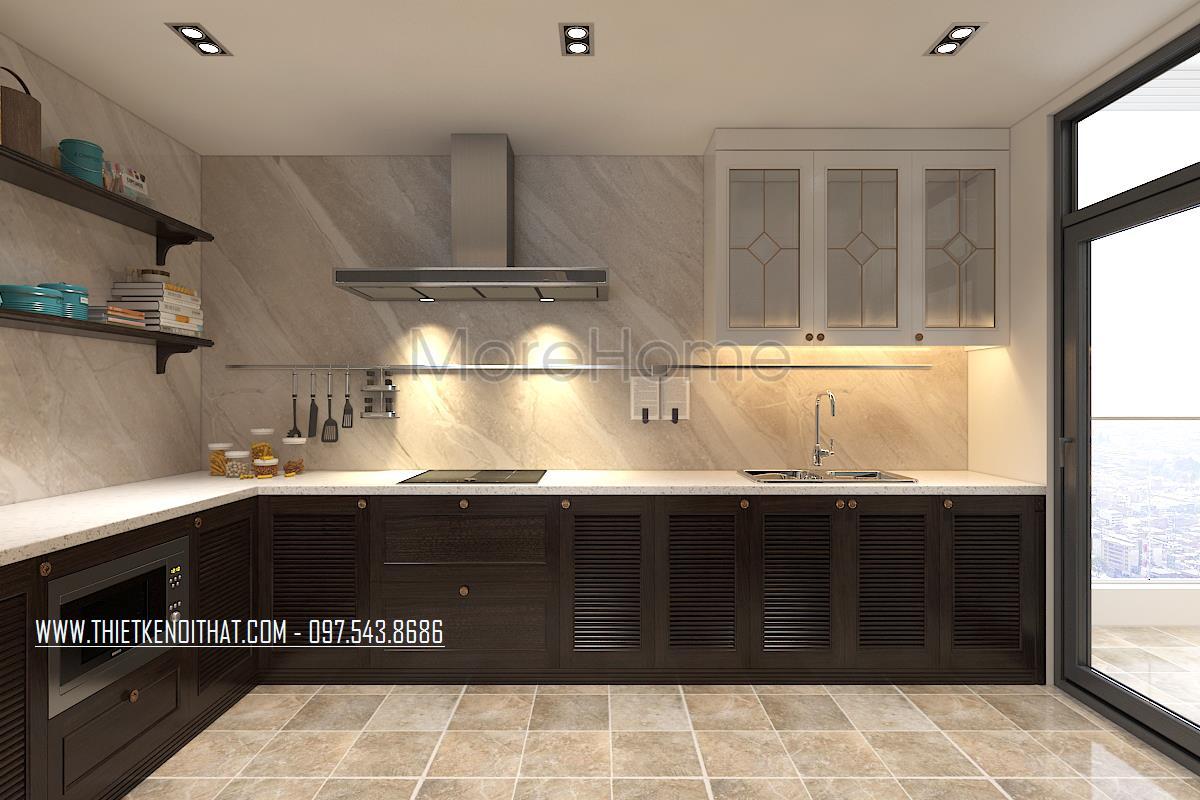 Thiết kế nội thất phòng bếp chung cư Ngoại Giao Đoàn