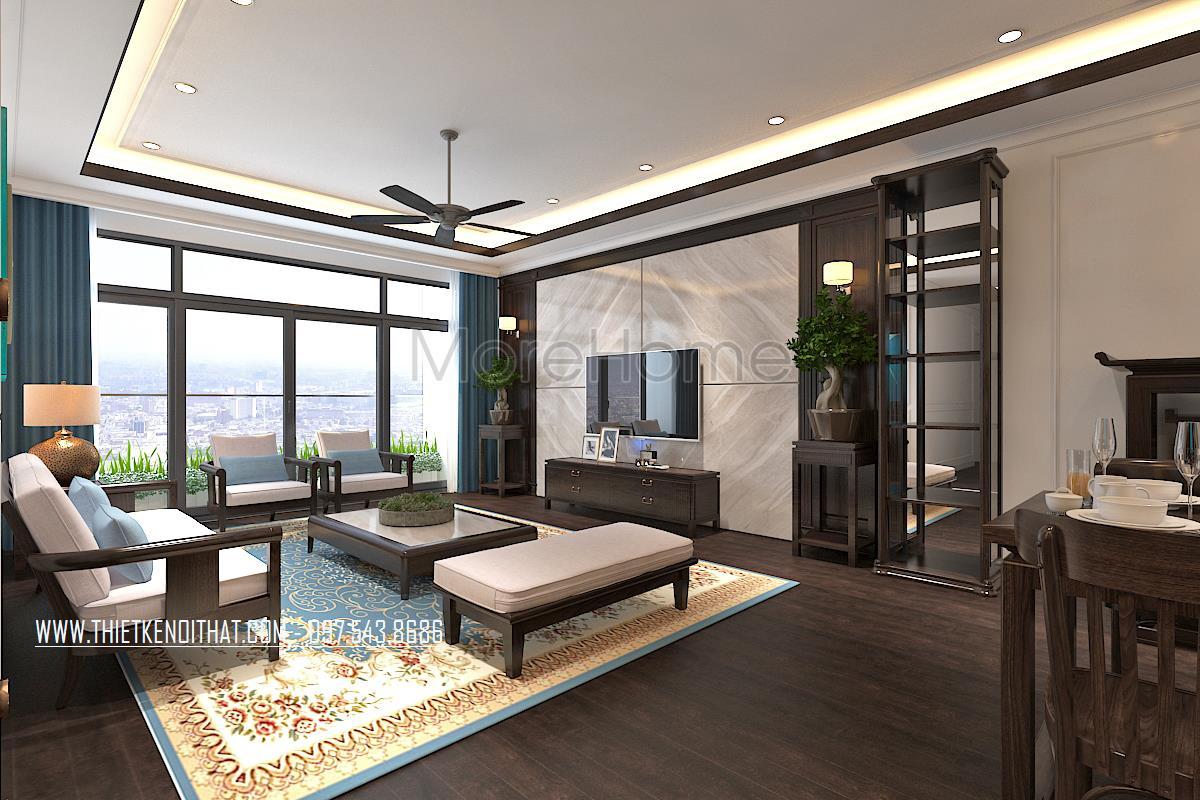 Thiết kế nội thất phòng khách chung cư Ngoại Giao Đoàn