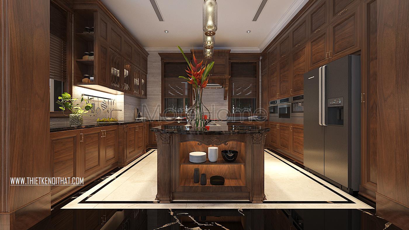 Thiết kế nội thất phòng bếp biệt thự Vinhomes GreenBay