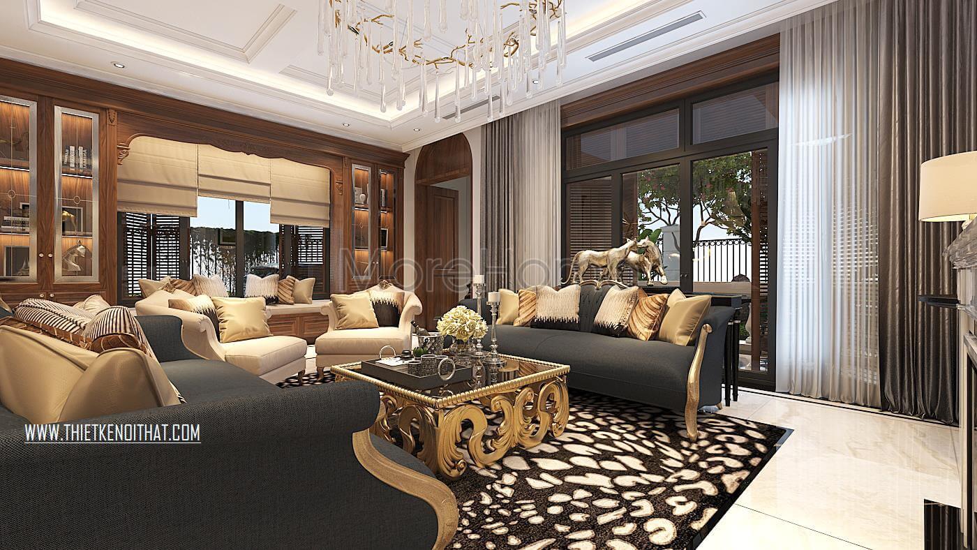 Thiết kế nội thất phòng khách biệt thự Vinhomes GreenBay