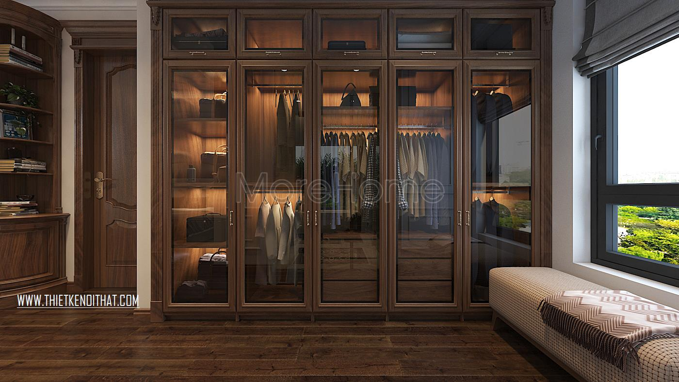 Thiết kế nội thất phòng thay đồ biệt thự Vinhomes GreenBay