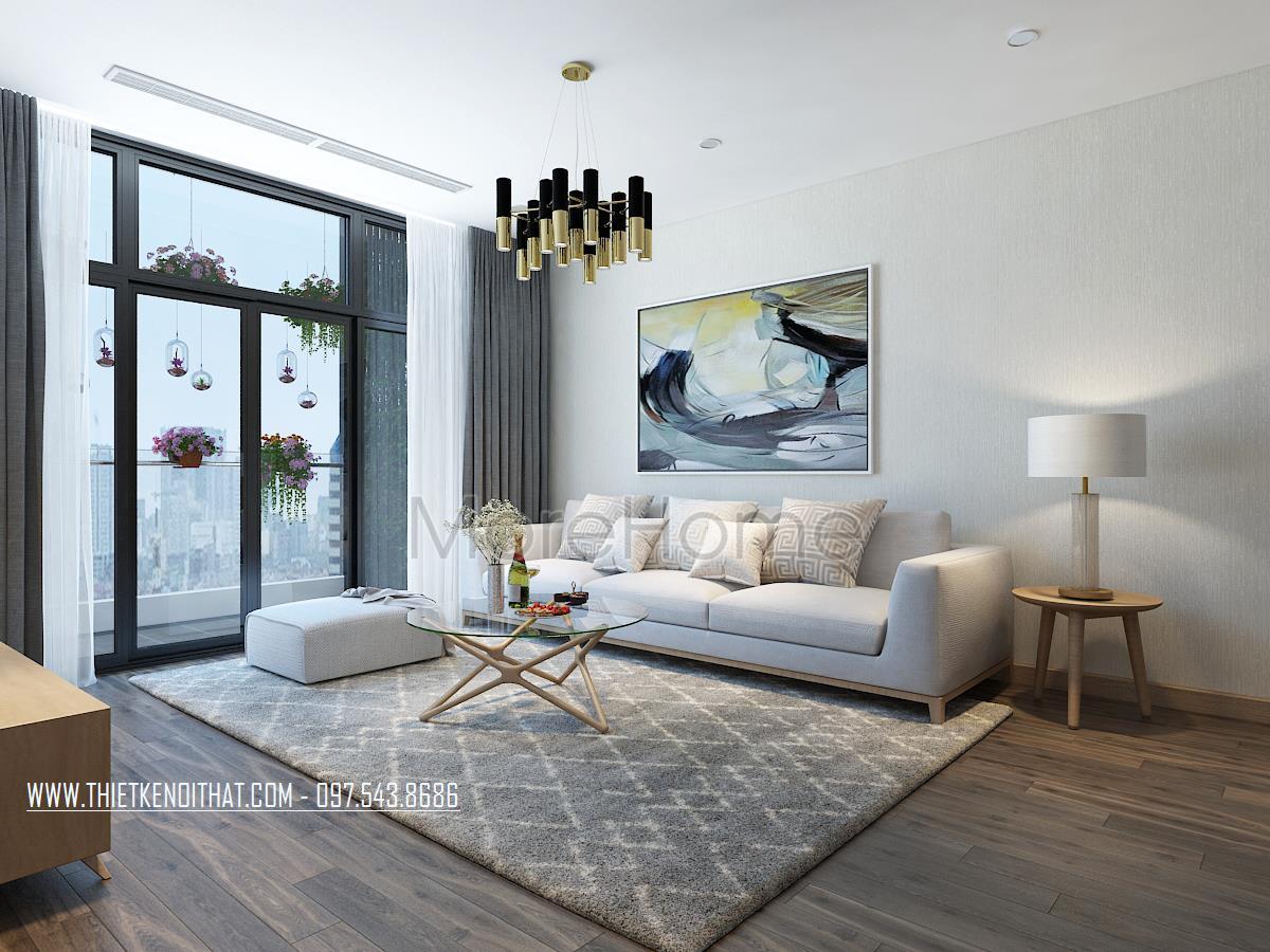 Thiết kế nội thất phòng khách chung cư Sun City Ancora