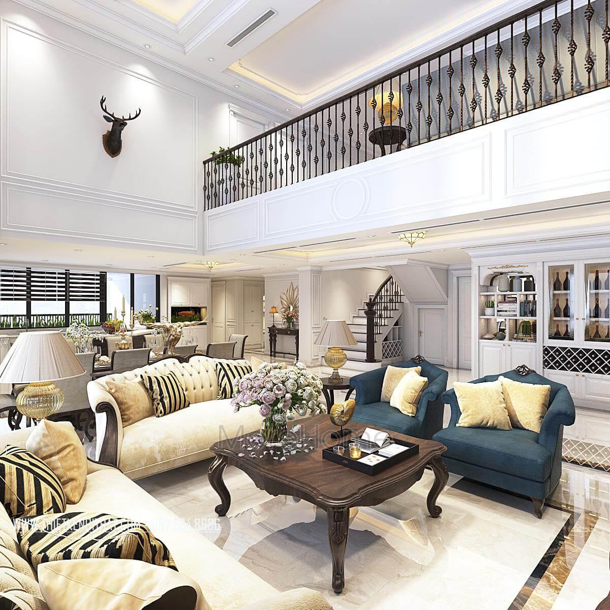Thiết kế nội thất phòng khách căn hộ Duplex Hapulico Thanh Xuân