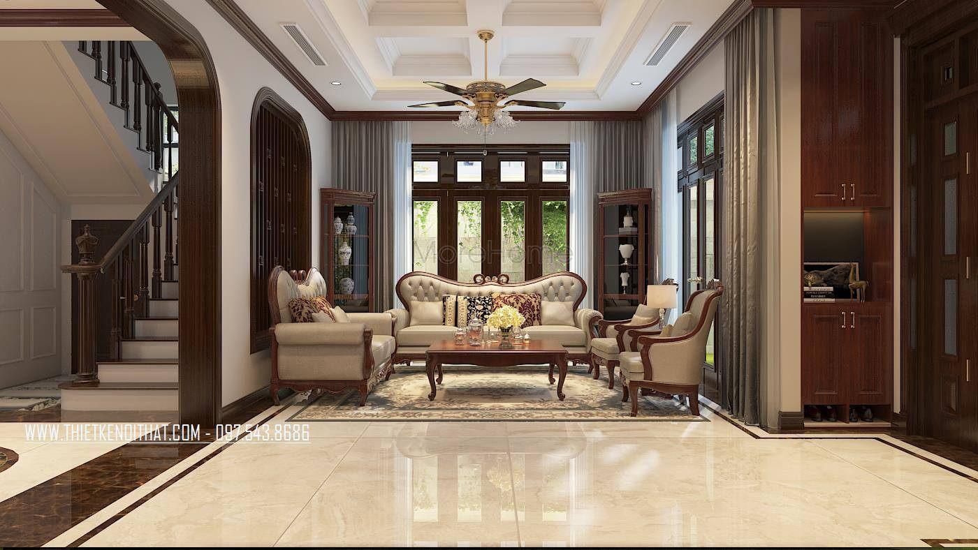 Thiết kế nội thất phòng khách biệt thự thành phố giao lưu