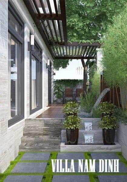 Thiết kế nội thất biệt thự gỗ óc chó cao cấp tại Nam Định hiện đại, sang trọng