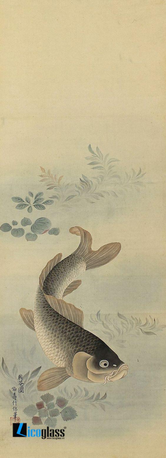 Tranh kính cá chép nghệ thuật - mẫu 16