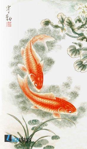 Tranh kính cá chép nghệ thuật - mẫu 15