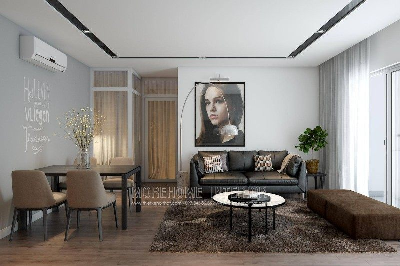 Thiết kế nội thất phòng khách chung cư k35 Tân mai Hoàng Mai Hà Nội