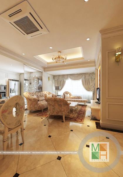 Thiết kế nội thất tân cổ điển tại chung cư Mipec - Anh Trường