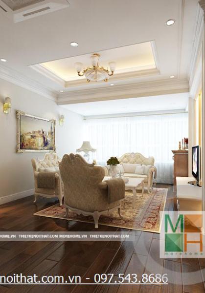Thiết kế nội thất chung cư Mipec phong cách tân cổ điển - Nhà Anh Dương