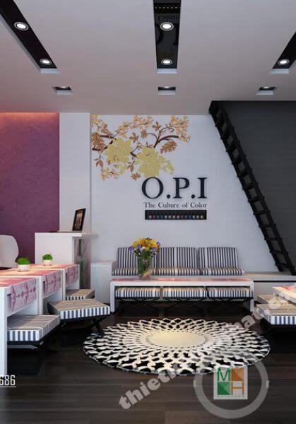 Thiết kế nội thất salon làm móng OPI phong cách hiện đại, đẹp