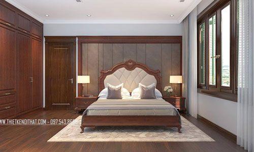 Giường ngủ gỗ hiện đại, tân cổ điển cho biệt thự tại thành phố Giao Lưu