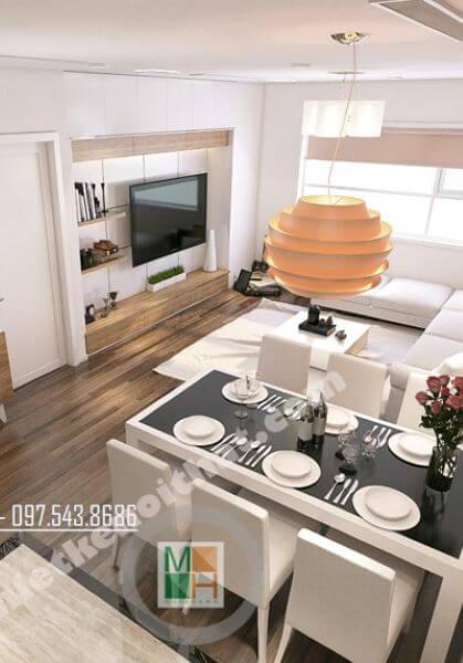 Thiết kế nội thất chung cư Golden Palace chị Nga tone trắng đẹp
