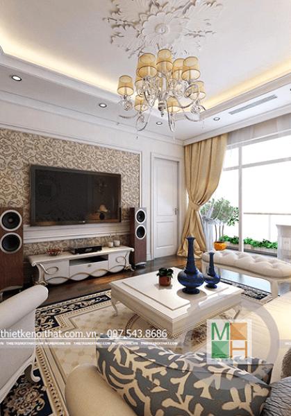 Thiết kế nội thất tân cổ điển tại chung cư Mandarin Garden 1109 B2 - Chị Linh