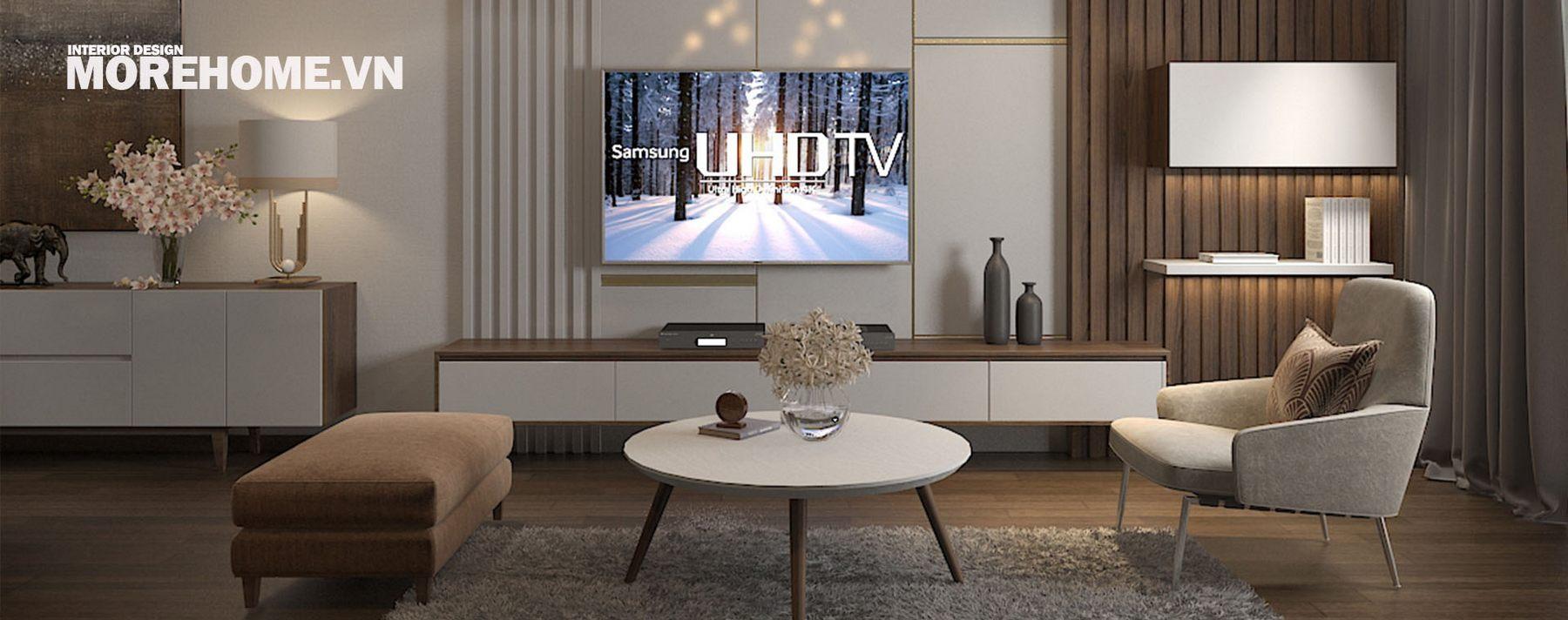 Thiết kế nội thất phòng khách chung cư Ngoại Giao Đoàn, Bắc Từ Liêm, Hà Nội
