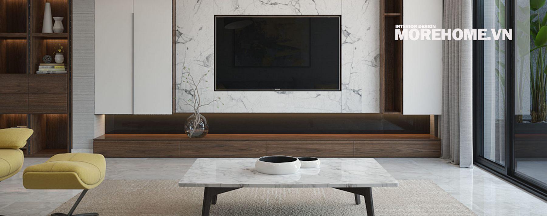 Thiết kế nội thất phòng khách nhà liền kề An Hứng Hà Đông