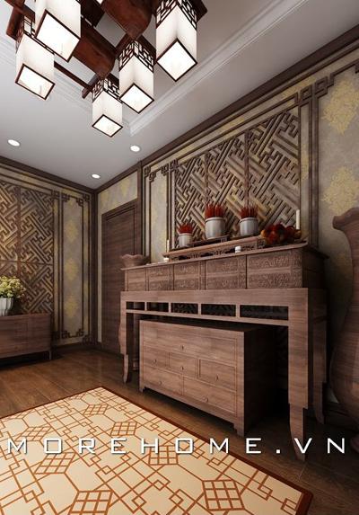 Nội thất phòng thờ gia tiên bằng gỗ đẹp được yêu thích năm 2020