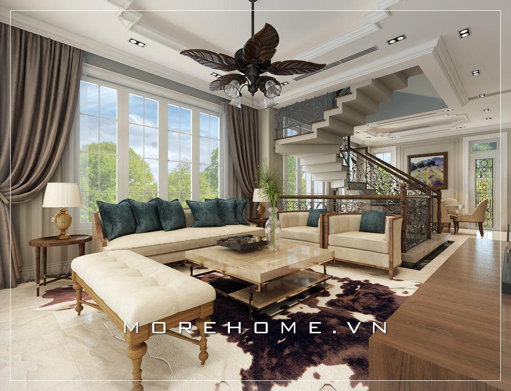 Thiết kế phòng khách Á Đông