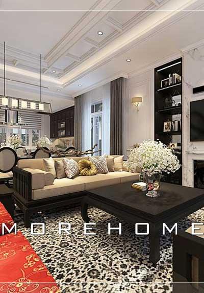Thiết kế nội thất phòng khách gỗ phong cách Á Đông sang trọng, đẳng cấp