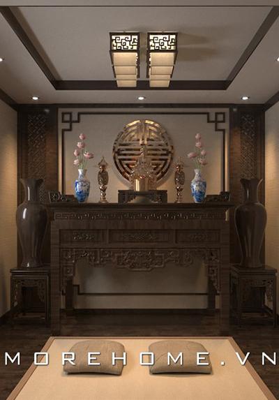 Mẫu thiết kế phòng thờ hiện đại với nội thất gỗ tự nhiên cao cấp