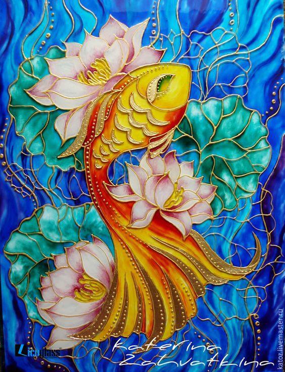 Tranh kính sen cá nghệ thuật - mẫu 29