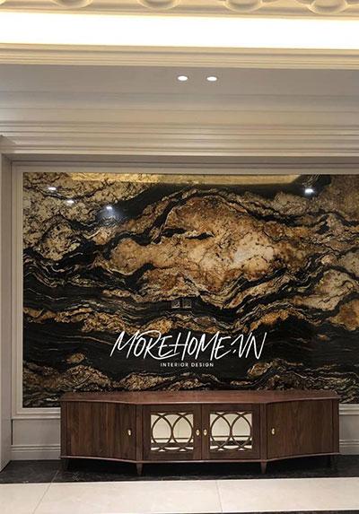 Thi công nội thất biệt thự Gardenia ấn tượng với đá ốp tường điểm nhấn độc đáo