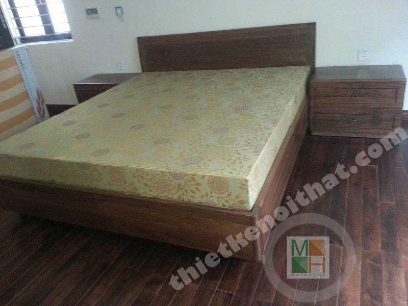 Thi công giường gỗ óc chó