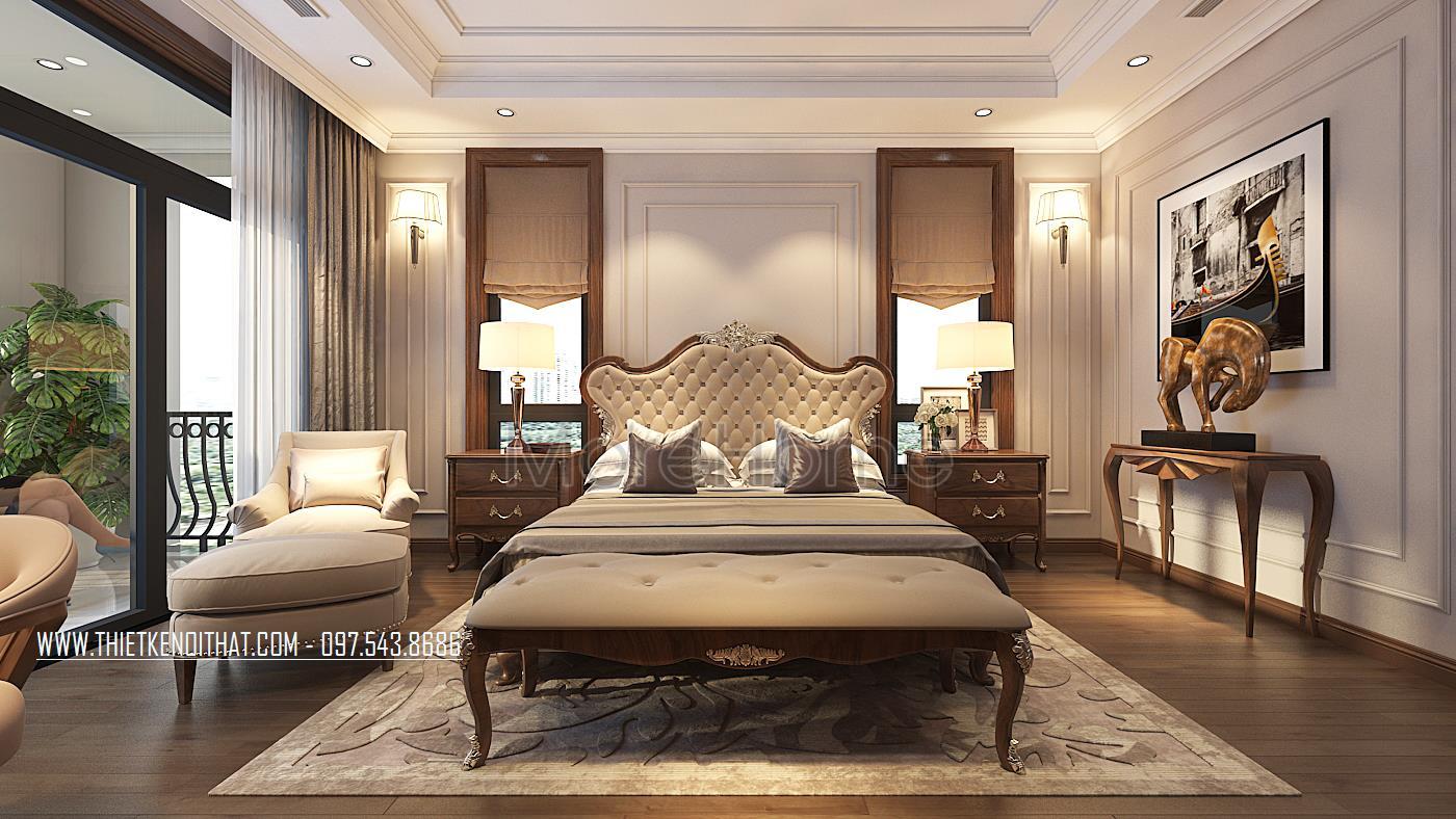 Thiết kế nội thất phòng ngủ khách biệt thự Vinhomes GreenBay