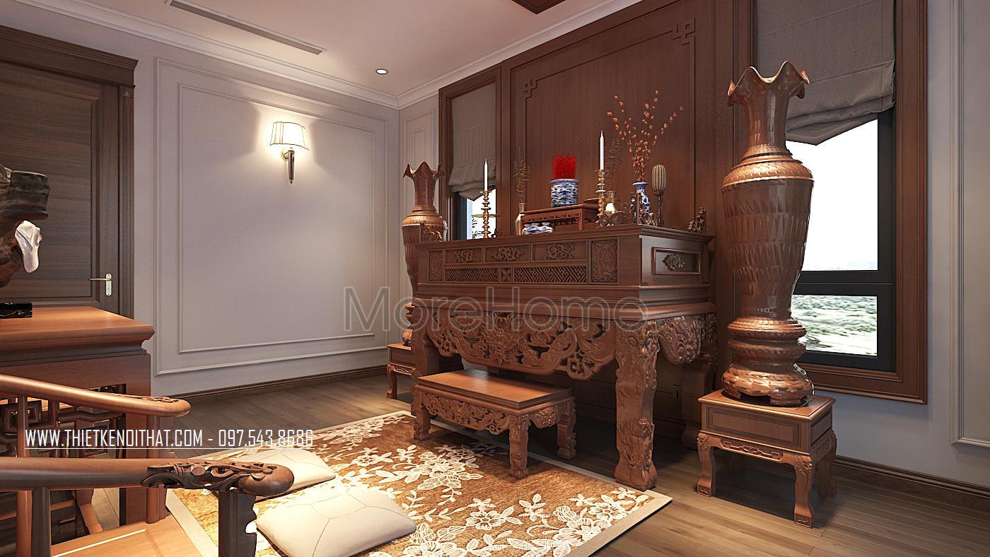 Thiết kế nội thất phòng thờ biệt thự Vinhomes GreenBay