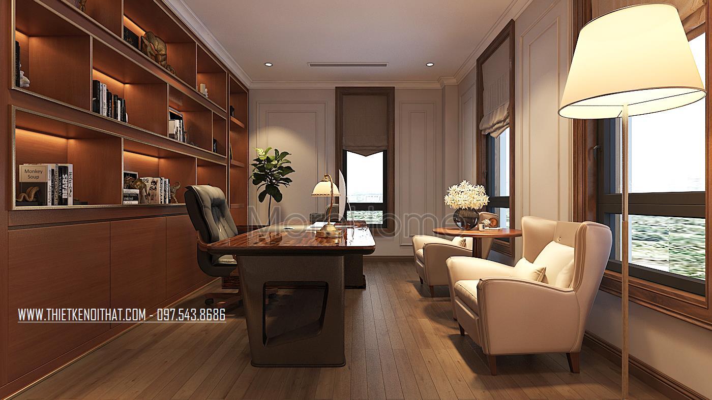 Thiết kế nội thất phòng đọc sách tại biệt thự Vinhomes GreenBay