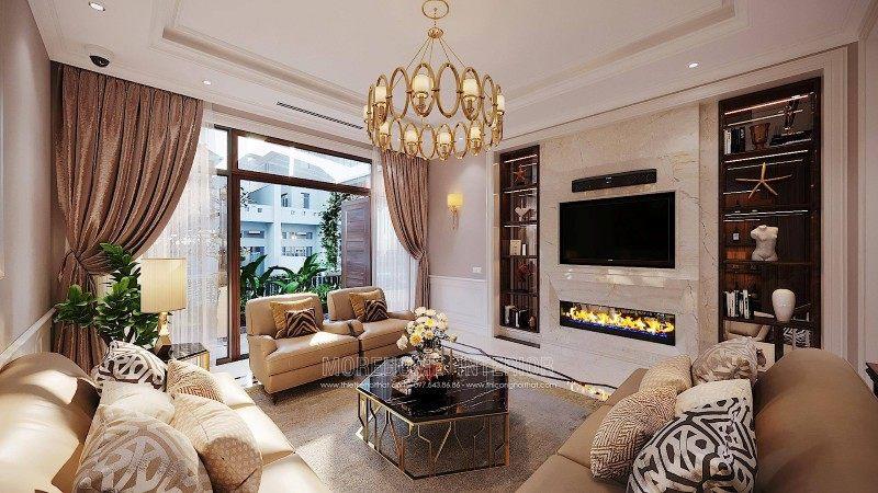 Thiết kế phòng khách biệt thự ciputra tây hồ hà nội