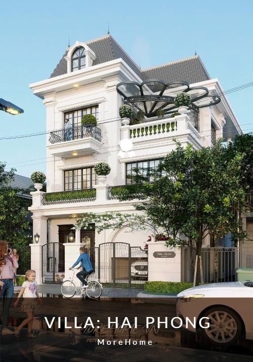 Thiết kế biệt thự 3 tầng tân cổ điển kiểu Pháp đẹp, sang trọng tại Hải Phòng