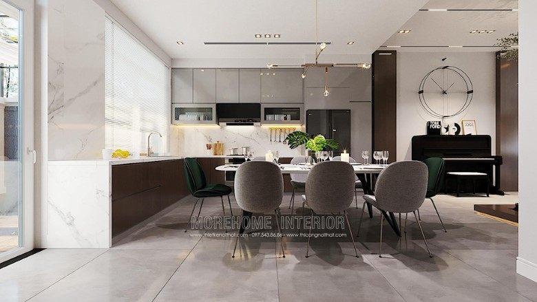Thiết kế nội thất phòng ăn biệt thự Louis city đại mỗ nam từ liêm hà nội