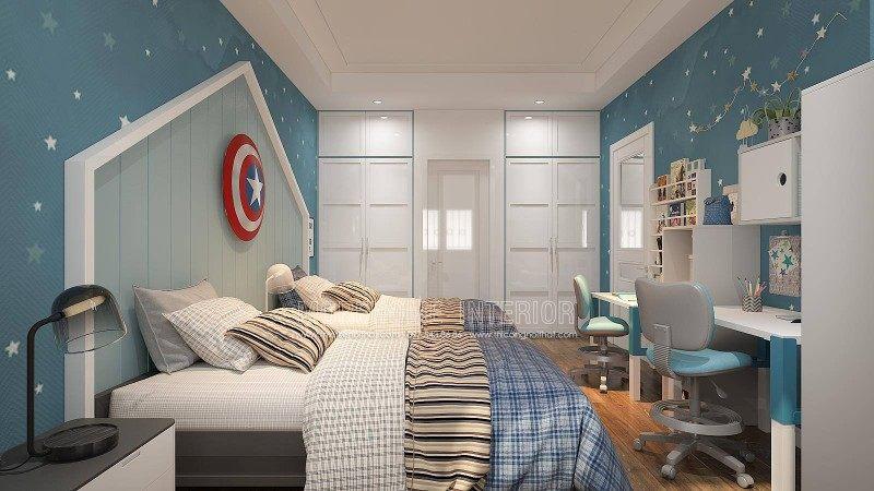 Thiết kế nội thất phòng ngủ bé trai cho biệt thự manhattan vinhomes imperia hải phòng