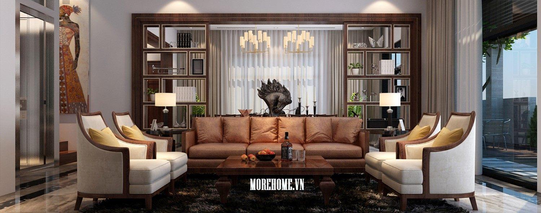 Thiết kế nội thất phòng khách biệt thự Nam Định