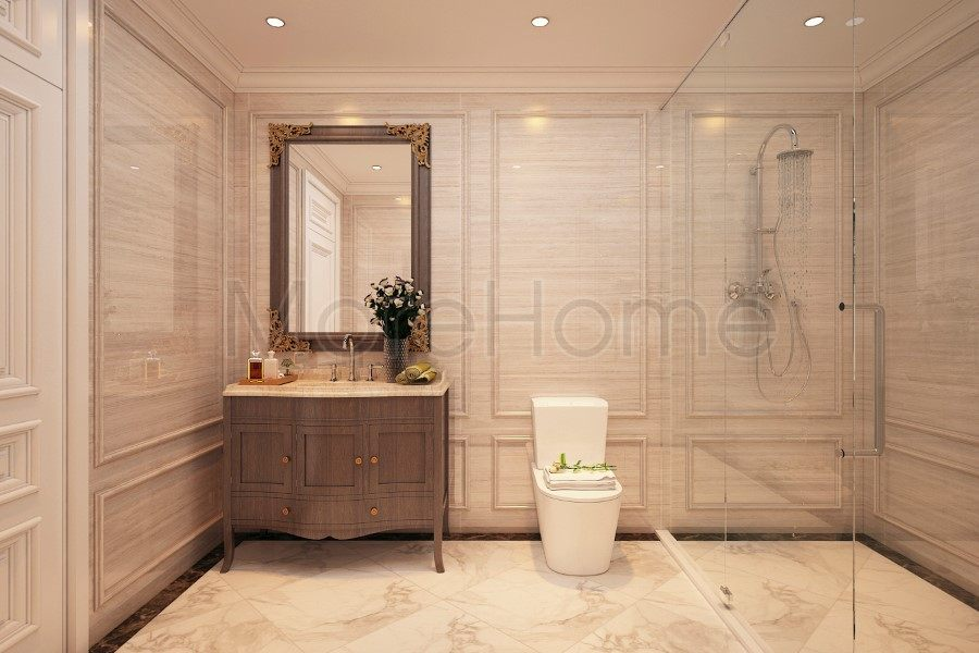 thiết kế biệt thự nhà anh trường phòng tắm lầu 3
