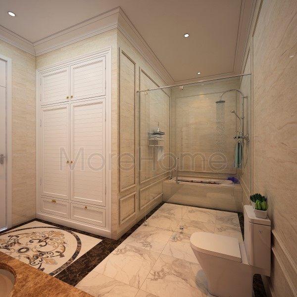 thiết kế biệt thự nhà anh trường phòng toilet lầu 1