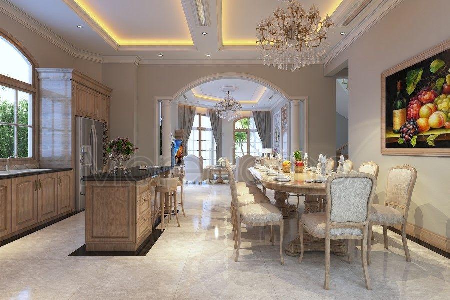Thiết kế nội thất phòng bếp biệt thự Thủ Đức