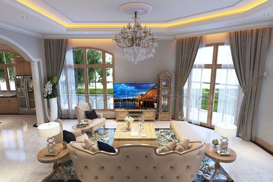 Thiết kế nội thất phòng khách biệt thự Thủ Đức